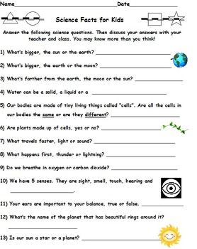 Printables Basic Science Worksheets kid science facts and student on pinterest for kids do your students know their general well lets see
