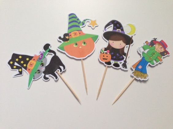 Cute Halloween Cupcake toppers by DianasDen on Etsy, $10.00
