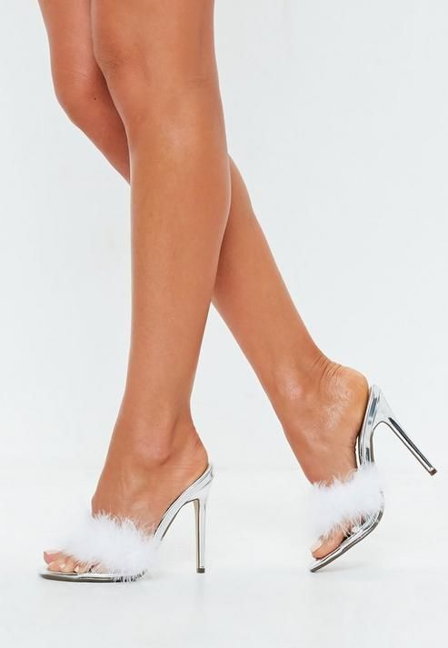 Missguided Silver Clear Feather Detail Mules in 2019