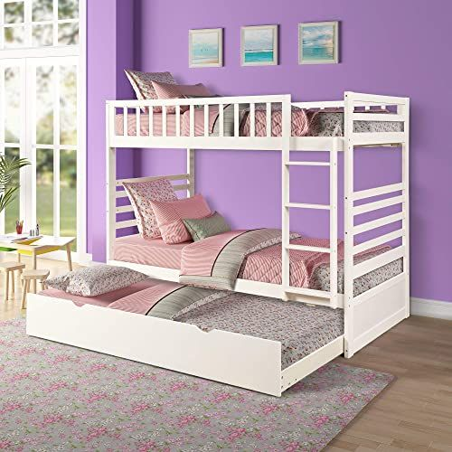 Beautiful ALI VIRGO Twin Over Two Bunk Bed Furniture with Trundle, Safety Rail and End Ladder Solid Wood Space Saving Design, for Teen Bedroom,Loft, Wonderful White Furniture. [$779.94] the108ideashits from top store