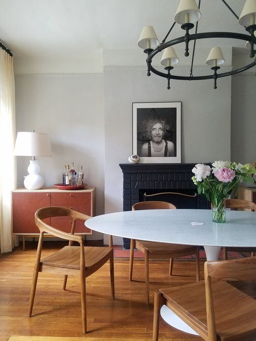 Mid century Modern dining table and chairs with Traditional ...