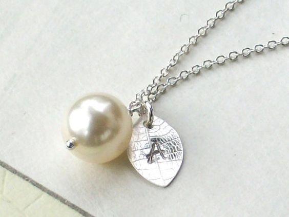 Single pearl necklace with custom initial. Great for bridesmaids!