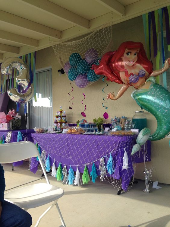 The little mermaid candy table cute toddle birthday party for Ariel birthday party decoration ideas