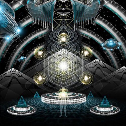 Here & rsquo; s la reprise de la section I posté la nuit dernière #psychedelic #starseed #pleaidians #digital #aliens #geometry #sacredgeometry #crystals #technology #illustration #samuelfarrand