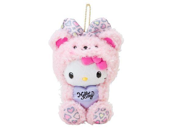 Hello Kitty Plush Doll Bear Mascot Chain Key Ring Heart Leopard Pink SANRIO JAPAN