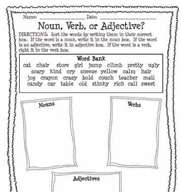 Noun, Verb, or Adjective Worksheet | adjectives | Pinterest ...