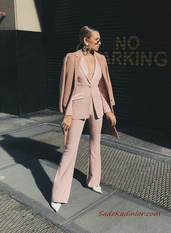 2019 Bayan Takim Elbise Kombinleri Pudra Ispanyol Paca Pantolon Uzun Ceket Kase Kaban Beyaz Stiletto Ayakkabi Takim Elbise Elbise Klasik Moda