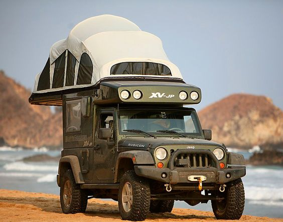Earth Roamer XV-JP   Jeep Rubicon with 9 feet of standing space, queen bed, toilet, 100L water tank, shower, sink, cooking and solar powered fridge.
