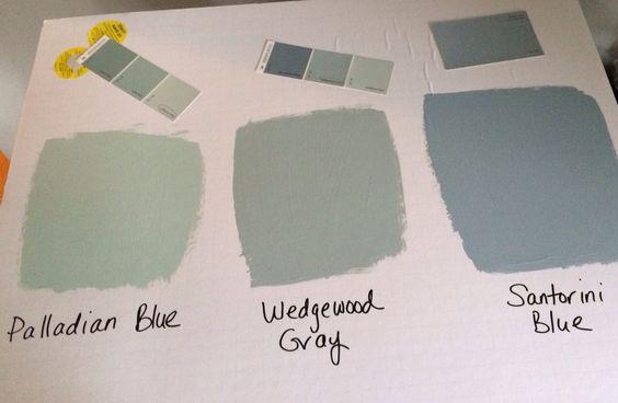 Benjamin moore palladian blue wedgewood gray santorini for Santorini blue paint