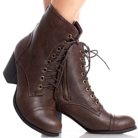 Brown Faux Leather Lace Up Combat Women Chunky High Heel Ankle ...