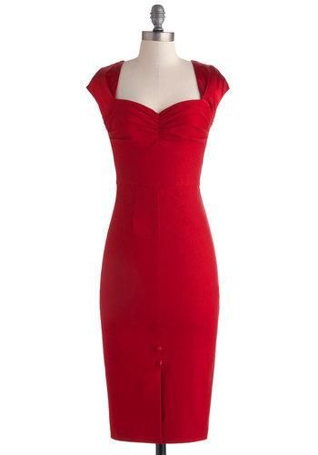 @ModCloth vintage inspired bold red sweetheart dress