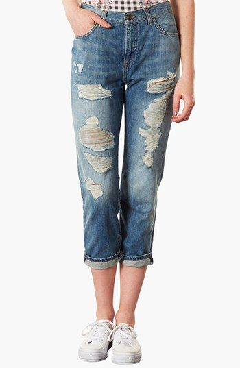Topshop Moto 'Kevin' Ripped Boyfriend Jeans available at #Nordstrom