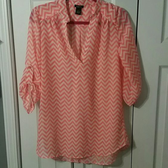 Bright Coral and white chevron blouse See through, loose fitting, 3/4 length sleeves with button, only worn to try on, size is medium, but fits like a large Rue 21 Tops Blouses