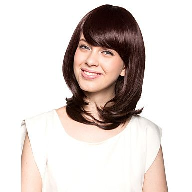 Capless Shoulder-length Top Grade Quality Synthetic Chocolate Brown Bob Style Morden Hair Wig – USD $ 33.99