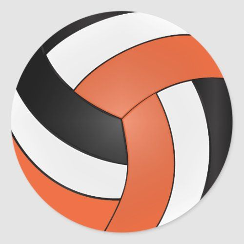 Orange White And Black Volleyball Classic Round Sticker Zazzle Com In 2020 Colorful Backgrounds Round Stickers White And Black