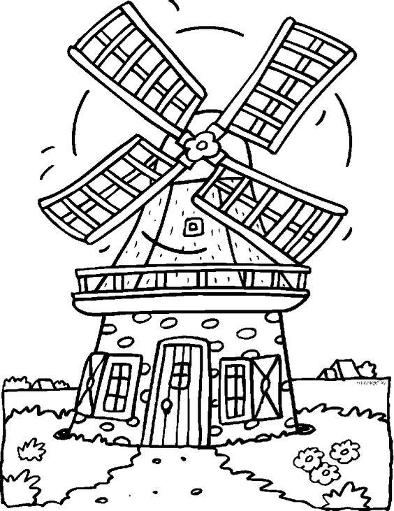 kleurplaat molen landen nederland