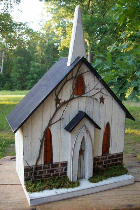 Hey, I found this really awesome Etsy listing at https://www.etsy.com/listing/214142084/primitive-lighted-church-folk-art-worn