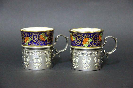 LOT OF 2 AYNSLEY ENGLAND CUPS BEAKER ,BIRKS STERLING SILVER HOLDERS   eBay