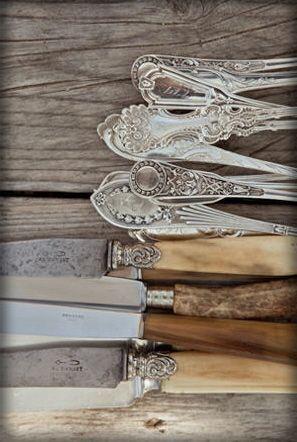 silver, bone and wood cutlery