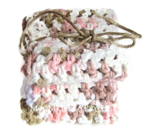 Handmade Crochet Bath Washcloths Shabby Pink Brown  #Kitchen Dishcloths #Gift Set of 3