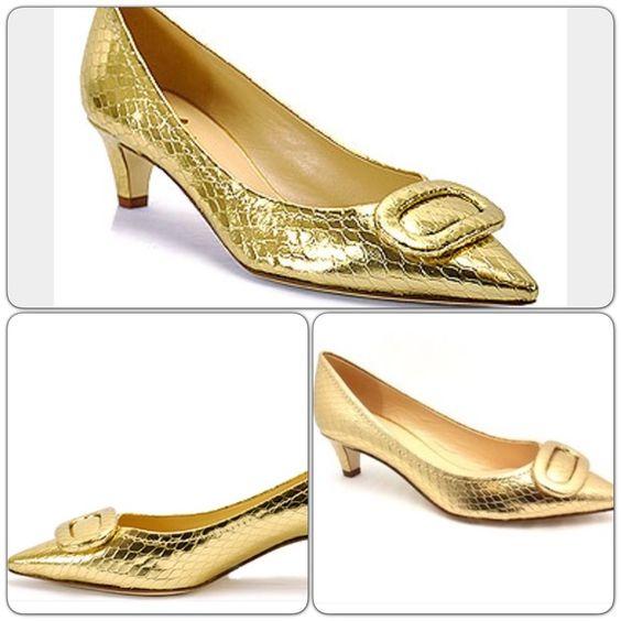 Kate Spade Simon Snake Print Heels Gold colored Kate Spade kitten ...