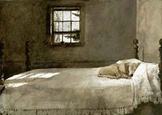 Andrew Wyeth 39 Master Bedroom 39 1965 The Wyeth Family Labrador Rattler Asleep On Wyeth 39 S Bed