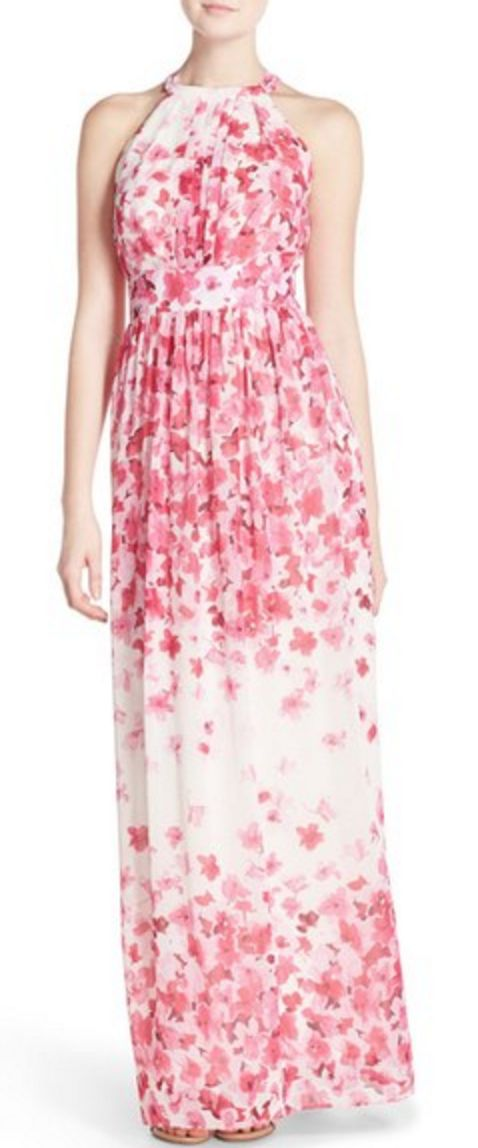 Pink and White Floral Chiffon Halter Neck Maxi