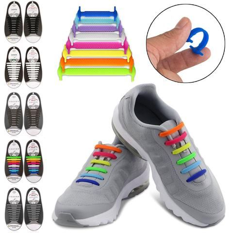 16pcs Easy Gray Shoelaces Elastic Silicone Flat Shoe Lace Set for Kids Adult