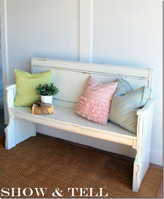 {Repurposed Headboard/Footboard}  The bench was painted a creamy white (Honeymilk by Valspar) and then distressed.  I love the way it turned out!  I cant wait to make another one :)
