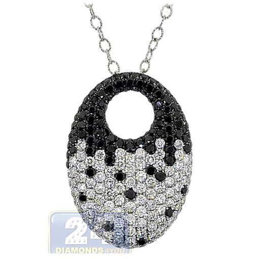 Womens Zebra Black Diamond Oval Pendant Necklace 14k White Gold Oval Pendant Oval Diamond Black Diamond