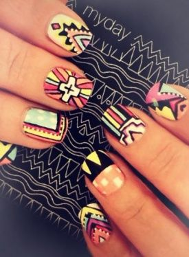 I'm trying to develop a bohemian look for asian girls (it's hard because most of us are short and petite instead of tall and lanky making it difficult to wear such clothes). I think I may have found some inspiration for this look in Tribal Aztec Nails