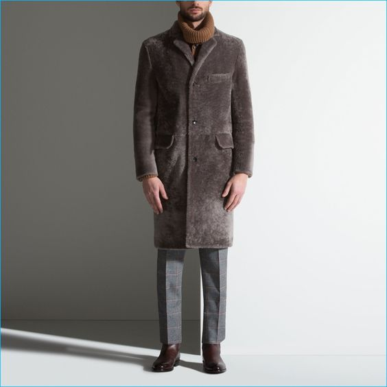 Bally Men's Lamb Shearling Chesterfield Coat