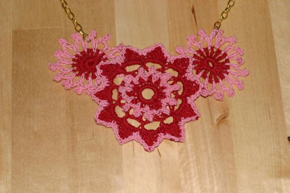 Beautiful Red and Pink  Floral Crocheted Statement  by SKDesigning, $15.00