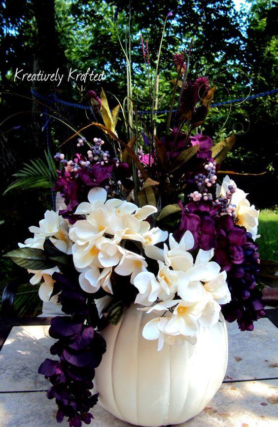 wedding white cream purple plum eggplant pumpkin centerpiece table arrangement by. Black Bedroom Furniture Sets. Home Design Ideas