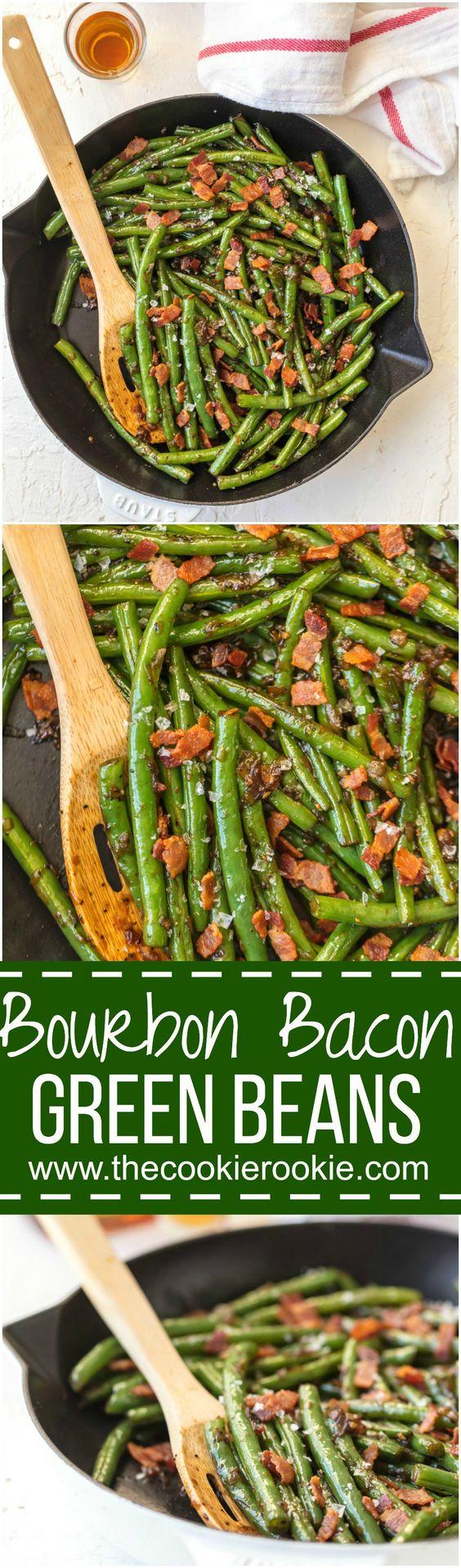 Skillet Bourbon Bacon Green Beans | The Cookie Rookie | Bloglovin'