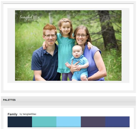 What an adorable family! Blues and purples solids, always a cute combo and perfect for the green outdoor scene!