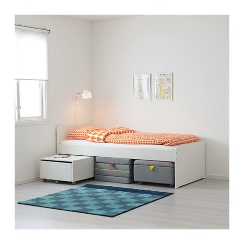 Slakt Bed Frame With Slatted Bed Base White Twin With Images