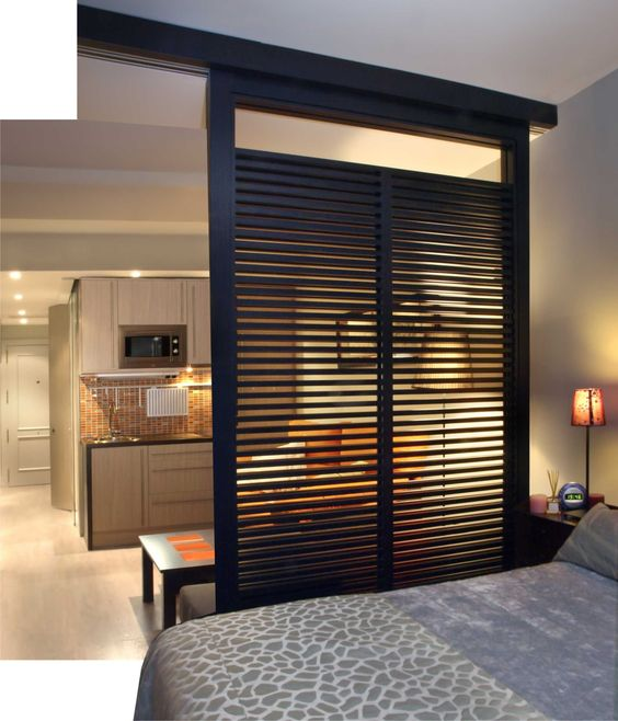 Great room divider for a studio apartment. Great idea!: