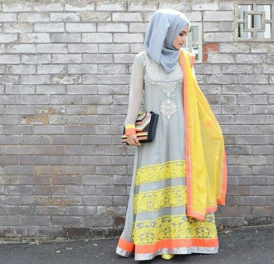 Grey Hijab with Long frock