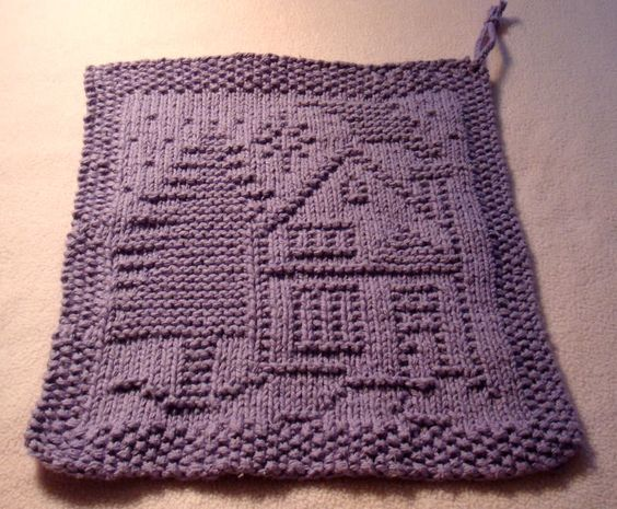 A Christmas Dishcloth - House and tree - free pattern from KrisKnits