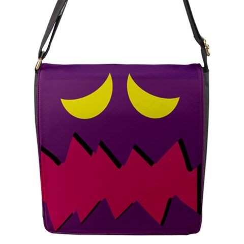 """A great bag for cosplay or everyday. Made of black nylon Comes with a changeable flap Includes one main zippered compartment with 2 internal pockets and an extra front open pocket Image imprinted using dye sublimation process to ensure everlasting effect Small- Adjustable 1.5"""" width nylon s..."""