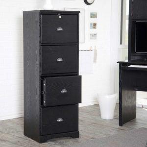 Black Wood Vertical Filing Cabinet Filing Cabinet 4 Drawer File