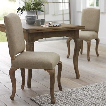 SUNDAY CHAIR This classic French chair goes effortlessly with our Isabelle table in particular. We're big fans of its weathered oak legs and natural linen fabric.