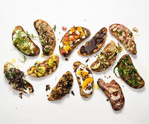 12 Easy Bruschetta Appetizer Recipes - A dozen simple bruschettas that capture authentic Italian flavors right at home. Pop the prosecco and let the snacking or party begin!