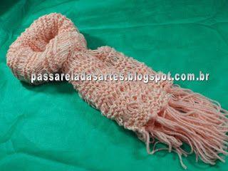 Artes na Passarela: Cachecol de tricô em ponto alongado na cor salmão