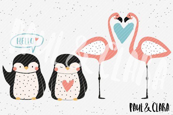 Weiteres - Plottervorlage Pinguin & Flamingo Love - ein Designerstück von paulundclara bei DaWanda