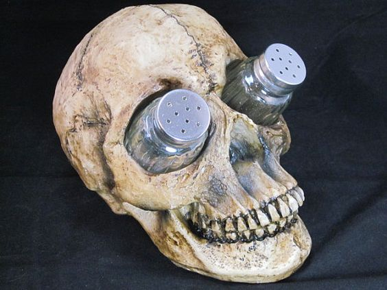 Skull Head Salt & Pepper Shaker Set- Glass Shakers-Gothic
