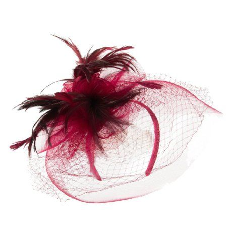 Amazon.com: Flower and Feather Accented Fascinator - Burgundy OSFM: Clothing