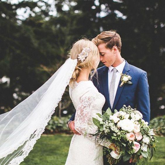 modest wedding dress with long lace sleeves from alta moda on gorgeous Seattle, WA bride. --    photo: mandi nelson