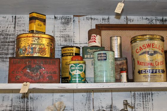 Old tins for kitchen decor.